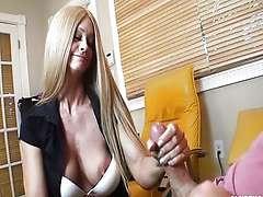 Hot blonde Milf strokes a big boner