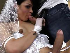Petite tranny in a wedding dress sucked then got her anal hole stuffed hard