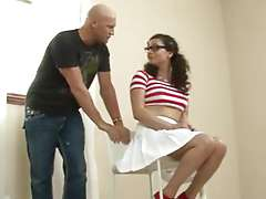 Tranny babysitter in white dress Riley..