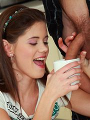 Little Caprice fucks for a glass of hot..