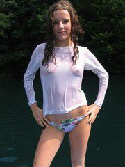 Tiny teen in wet transparent blouse and..