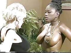 Busty interracial black and white lesbians, King Savage