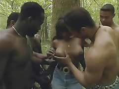 ebony whore gangbanged in woods